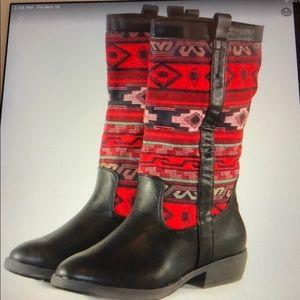 Bamboo Boots Indian Aztec Knee Hi Boots 7.5